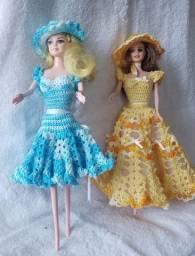 Roupa de crochê para bonecas Barbie