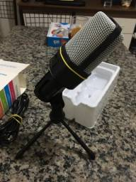 Microfone Condensador Para Gravação No Pc Com Cabo E Tripe  NOVO