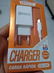 Carregador carga rápida saída USB + Cabo USB x Tipo C
