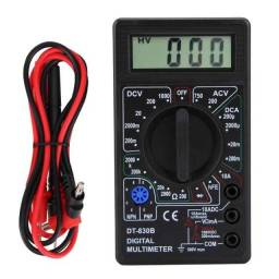 Multímetro digital modelo DT-830B com bateria 9v e cabos de teste