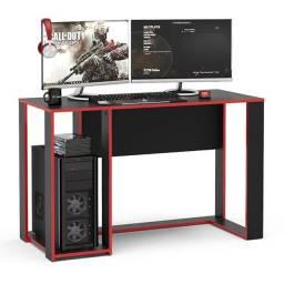 Título do anúncio: Mesa Gamer Escrivaninha Singapura 1 Nicho Preto/vermelho Politorno