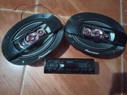 Rádio Pioneer com Bluetooth USB Aux e Dois auto falante Pioneer 6x9