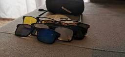 Óculos esportivo mais 05 lentes clips.