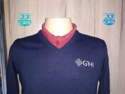 Suéter blusa de lã gola em V