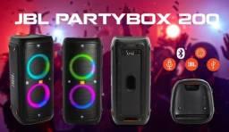 Caixa De Som Jbl Partybox 200 Bluetooth Led Original + Nota Fiscal Garantia Da Jbl
