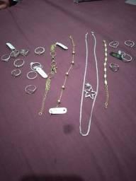 Anel cordão pulseira pirgente de prata