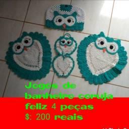 Jogo de banheiro coruja feliz em crochê e jogo de cozinha  em crochê