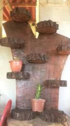 Suporte Rústico para Plantas - Madeira Nobre