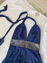 Vestido azul petróleo bordado de nacadara P