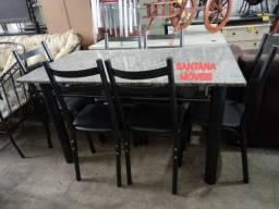 Conj mesa c/ 6 cadeiras tubolares. 1,50 x 0,80 L. Pçs novas