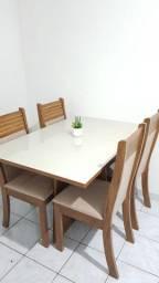 Mesa viero sevilha/ roma vidro off white imbuia ameixa , 4 cadeiras