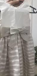 Vestido kopela cor white com listras bege