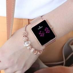 Relógio digital feminino rosê Champion