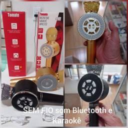 Microfone SEM FIO com Som bluetooth e karaokê