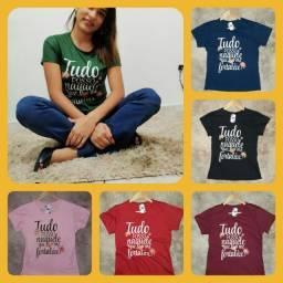 Kit 10 Blusas T-shirt com frases evangelicas ou personagem