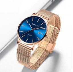 Relógio Quartz Feminino Rose E Azul Carju