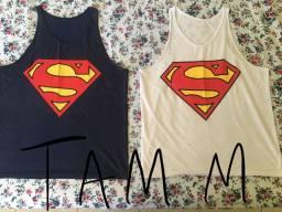 Camiseta super men. Azul/Branca