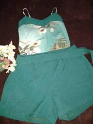Conjuntos de ótima qualidade... Bermuda no linho e blusa no sedim