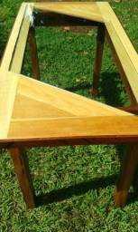 Mesa de madeira maciça e vidro blindex - Dourados MS
