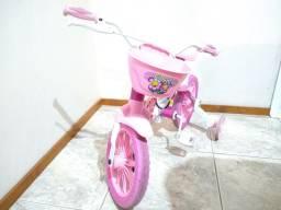 Bicicletinha Infantil Aro 12 Flower Com Rodinhas Nathor Rosa