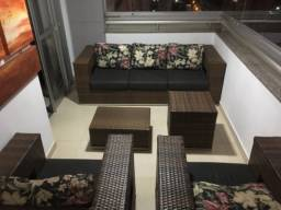 Jogo de varanda com sofa em fibra