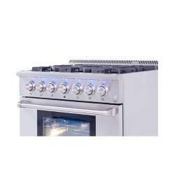 Fogao profissional em aço inox escovado com forno de 148L compativel com bertazzoni