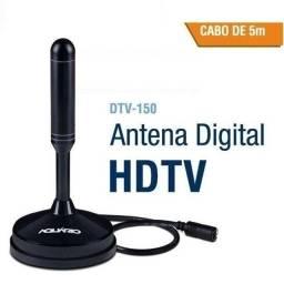 Antena Digital HDTV 5 EM 1 uso Interno e externo cabo 5 metros DTV-150