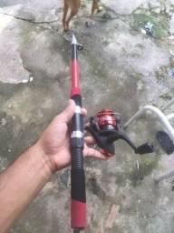 Vara de pesca com molinete