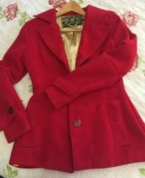 Casaco de lã batida vermelho