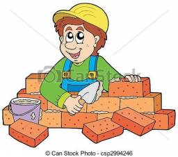 Pedreiro construtor do alicerce ao telhado