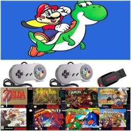 Pendrive Super Nintendo +500 jogos com 2 controles snes para notebook ou PC