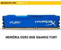 Memória RAM Fury DDR3  Azul  1x8GB HyperX Kingston para PC Gamer