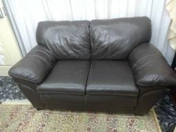 Sofa todo em couro legitimo 2 e 3 lugares marron