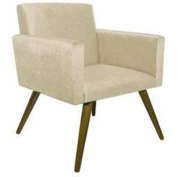 Duas Poltronas Cadeiras Decorativas Beatriz Escritório Recepção Sala De Estar - Bege