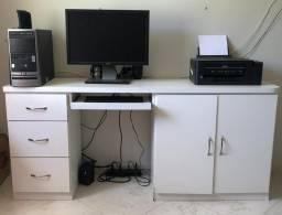 MESA PARA COMPUTADOR edição escritório branca grande com 3 gavetas