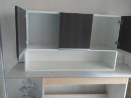 Armario 3 portas em mdf branco com marrom
