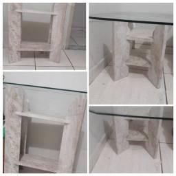 Aparador e mesa de centro mármore com tampo de vidro