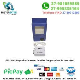 670 - Mini Adaptador Conversor De Video Composto 3rca Av para HDMI