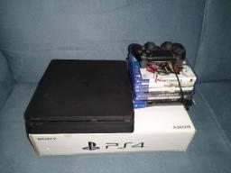 Playstation 4 slim 1tb de HD + 1 controle + jogos