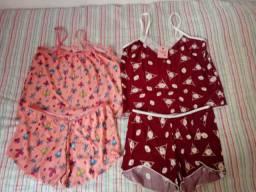 2 pijamas short doll P NOVOS