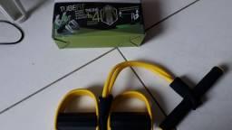 1 elástico de tensão e bicicleta ergométrica