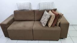 Sofá 2 lugares espaçosos - retrátil + 6 almofadas