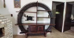 Estante Roda de Moinho Original madeira de lei