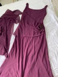 Vestido vinho de Musseline 44