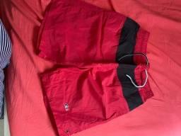 Calção Poliéster, vermelho e preto