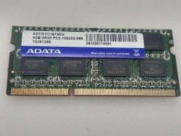 Memória ram ddr3 4gb para notebook 1333mhz adata seminova testada com garantia