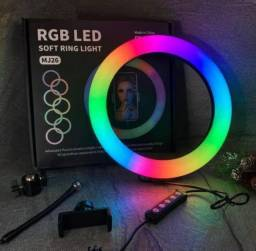 Ring Light Rgb Iluminador 26cm/10pol Profissio + 2,1m Tripé