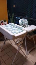 Trocador com banheira e cadeira de alimentação Burigotto