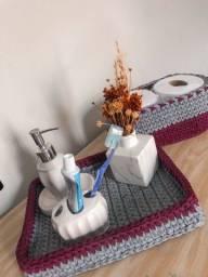 Kit banheiro em fio de malha