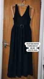 Vestido forever 21 novo preto tecido grosso não marca